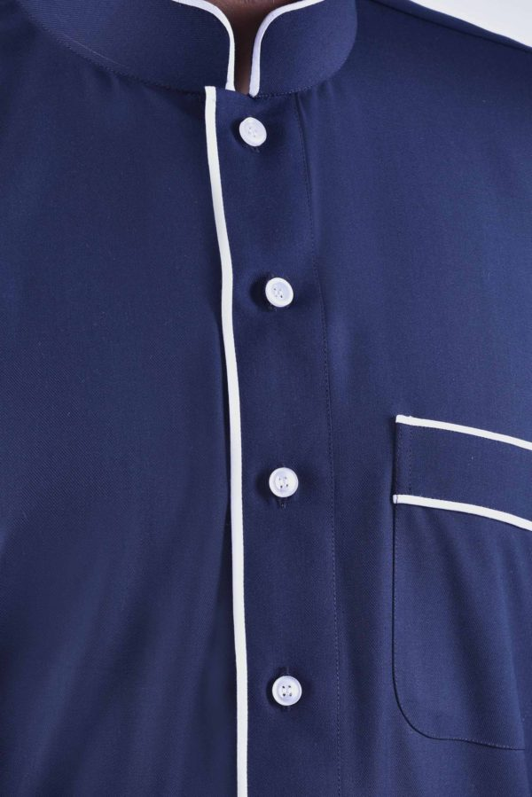 pinstripe thobe alqamees navy blue jubba qamis tailored